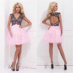 2014 V-Neck Csystal Appliques Bodice Tulle Ball Gown Open Back Tank Dress to Party Short Cocktail Dresses vestido de festa curto