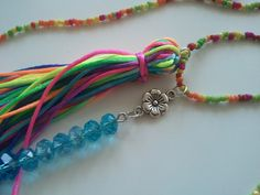 #DIY #necklace #tassel #summer http://ziriane.blogspot.sk/2016/04/diy-tassel-rainbow-bead-necklace.html