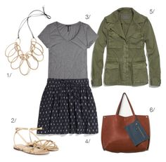 ikat skirt, military jacket, statement necklace // click for outfit details