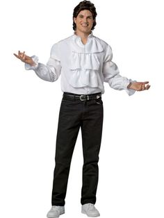 Halloween Seinfeld Jerry Puffy Shirt and Wig Costume Adult