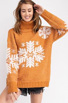 e2afc49888 Easel Snowflake Turtleneck Pullover Sweater