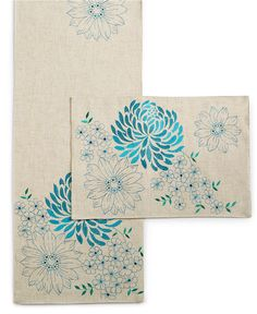 "Homewear Spring Sketch Table Linens Collection 90"" Teal Table Runner - Table Linens - Dining & Entertaining - Macy's"