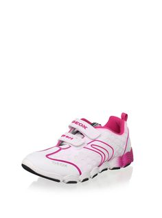 Geox Kid's Jr Imola Girl Sneaker (Toddler/Little Kid/Big Kid) (White/Fuchsia) Leather upper with perforations and stitching details, double strap with hook-and-loop closure, padded collar, breathable Respira footbed, treaded sole #Sneaker # #