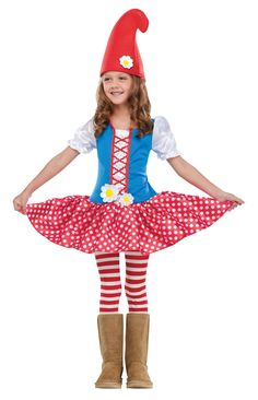 Garden Gnome Girls Costume - This is a cute Gnome girl costume, it would also make a great Gretel costume! This is a two-piece costume with a dress and hat. The dress has short puff sleeves with elasticized cuffs. The bodice has red piping and flower patches sewn on. The gathered skirt is red and white polka dot with a red mesh petticoat underneath. The hat is a foam-lined red toque. #gnome #garden #calgary #yyc #costume #infant #toddler