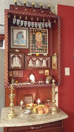 Let the first second post on this new year be an auspicious one. All my readers take a moment to look at my pooja corner and pray for this year. May all your prayers be answered. Temple Design For Home, Mandir Design, House Architecture Styles, Pooja Mandir, Pooja Room Door Design, Ethnic Home Decor, Wall Mounted Shelves, Shelf, Puja Room