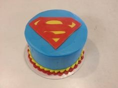 Superman to the rescue! Superman Cakes, Custom Cakes, Cake Cookies, Birthday Cake, Sweet, Desserts, Food, Personalized Cakes, Tailgate Desserts