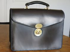 Lined Bridle Leather Briefcase by GoldLeafParis on Etsy https://www.etsy.com/listing/265724209/lined-bridle-leather-briefcase