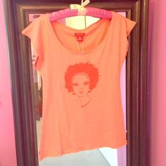 Coral pink Castro top with girl Very cute coral pink / rose pink colored T-shirt. New from Castro. Size extra small but runs a little big so will fit more like a small. Castro  Tops Tees - Short Sleeve