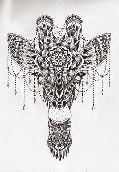 mandala giraffe - Million Feed Mandala Drawing, Animal Mandala Tattoo, Girraffe Tattoo, Body Art Tattoos, Sleeve Tattoos, Tatoos, Mandela Tattoo, Tattoos Realistic, Giraffes