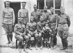 WWI 369th infantry. The Regiment consisted of African-Americans and Puerto Ricans.It was nicknamed the Harlem Hellfighters, the Black Rattlers and the Men of Bronze