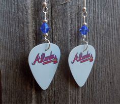 Gray Atlanta Braves Guitar Picks with Blue Crystals by ItsYourPick on Etsy