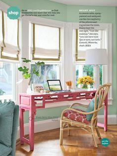 Pink desk, mint walls