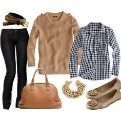 checked shirt skinnies neutral crewneck and flats