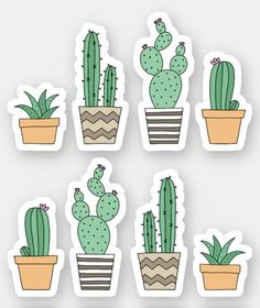 Stickers Cool, Cactus Stickers, Preppy Stickers, Cute Laptop Stickers, Tumblr Stickers, Custom Stickers, Free Printable Stickers, Kawaii Stickers, Journal Stickers