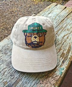 c27f0c0654f Custom hand painted Smokey Bear tan denim camping forest ranger baseball hat  by  bleudoor on