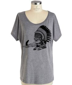 Womens CAT INDIAN T shirt  Dolman sleeve slouchy by skipnwhistle, $19.00