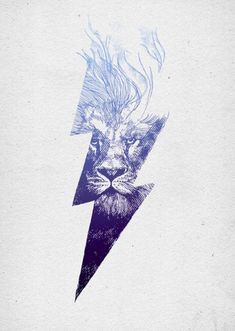 Great color palette, great photo manipulation of the thunderbolt fading into the lion, and love the spacing of the hairs in the mane to give a fluid motion to the piece.                                                                                                                                                                                 More