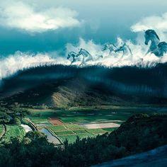 My artwork of the day: HECTIC. The horses of Teahupoo hectically going through the entire world, here visiting Hanalei Valley in Hawaii. Hope you all like it! #mikiicalderaart 🌊🏄🐎🌄 || Mi obra del día: HECTIC (Frenético). Los caballos de Teahupoo viajando frenéticamente por todo el mundo, acá visitando Hanalei Valley en Hawaii. Arte surreal para Benja. Espero les guste a todos! 🌊🏄🐎🌄