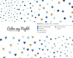 Digital Paper Blue 'Pack02' Gold Glitter & Blue by ColorMyNight