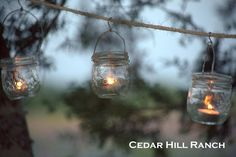Mason Jar Lights: String up tiny mason jars and votive candles for your next outdoor shindig! www.cedarhillfarmhouse.com