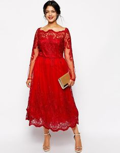 2015 Classy Red A-Line Lace Applique Plus Size Dresses Square Neck Long Sleeve Tea-Length Party Prom Dress Evening Gown For Special Occasion, $132.62 | DHgate.com