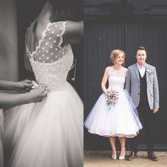 Hot Sale A-line Short Wedding Dresses 2015 Scoop Cap Sleeve Zipper Mid Calf Tulle and Organza 2016 Romantic Bridal Gowns Dress