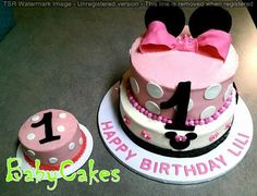 A Minnie Mouse themed 1st birthday cake with coordinating smash cake.