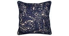 This bold pillow is crafted of cotton-and-linen fabric with silk-rayon embroidery in a richly hued swirling pattern and finished with cotton-linen piping. Knife edges and a hidden zipper complete...