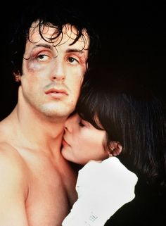 """Rocky"" starring Sylvester Stallone (Rocky Balboa) and Talia Shire… Rocky Sylvester Stallone, Stallone Rocky, Rock Balboa, Rocky And Adrian, Rocky 1976, Rocky Ii, Best Movie Couples, Costumes, Marvel Tattoos"