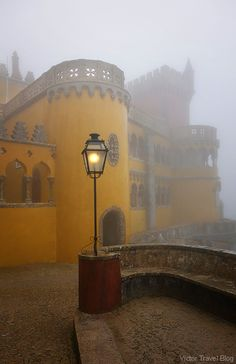 Pena National Palace in fog. Sintra, Portugal. https://victortravelblog.com/2015/01/05/fancy-pena-palace-in-fog-sintra-portugal/
