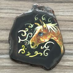 NEW! HAND PAINTED HORSE AGATE SLICE GEMSTONE NECKLACE PENDANT ZP80 00154 #ZL #PENDANT