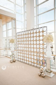 Beautiful backdrop built by David Caruso of Dynamic Events for a Wedding Ceremony in the Upper Lobby of the Overture Center for the Arts in Madison, WI. Photo by Krakora studios