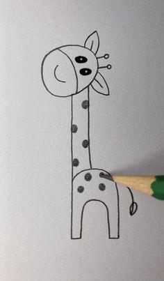 Easy Drawings For Kids, Art Drawings Sketches Simple, Doodle Drawings, Drawing For Kids, Animal Drawings, Doodle Art, Simple Cute Drawings, Drawing Ideas, Hand Art Kids