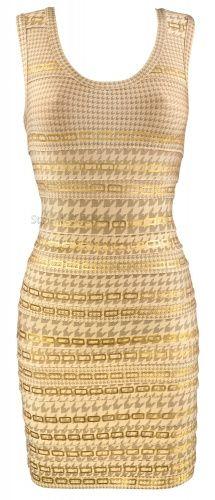 'Beth' Dog Tooth & Chain Foil Printed Bodycon Dress - StyleMeCeleb