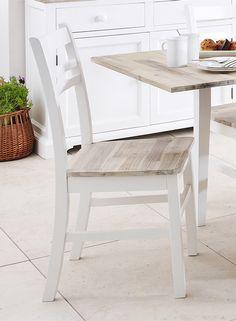 White Wooden Dining Chairs (Pair) - Blakeney - White