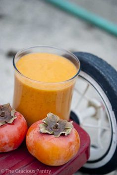Clean Eating Kid's Persimmon Smoothie 2 small to medium persimmons (destemmed and peeled if you don't have a high powered blender) 1 cup light coconut milk 1/2 teaspoon ground cinnamon 1/2 teaspoon pure vanilla extract 1 teaspoon lemon juice