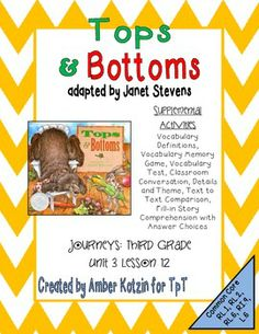 Tops and Bottoms by Janet Stevens - Supplemental Activities 3rd Grade Journey