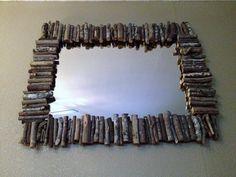 Wood branch mirror