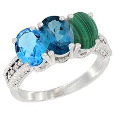 14K White Gold Natural Swiss Blue Topaz, London Blue Topaz and Malachite Ring 3-Stone 7x5 mm Oval Diamond Accent, sizes 5 - 10 >>> Quickly view this special  product, click the image : Ring Bands