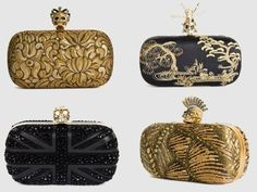 Alexander McQueen. obsessed with his clutches. So many of them are topped with skulls and they are all blinged out. F-ing amazing. I want one.