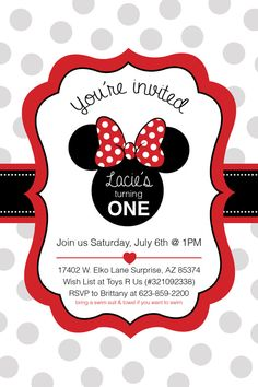 Minnie Mouse invitations Printable File por GardellaGlobal en Etsy, $5.00