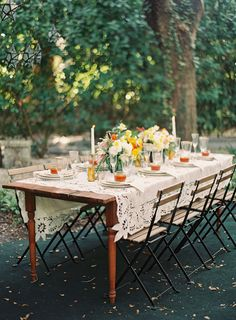 rustic spanish-inspired orange & yellow tablescape | melanie gabrielle photography | via: ruffled