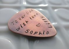 Custom Guitar Pick - Personalized Copper Guitar Pick - Hand Stamped Mens Gift
