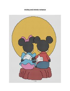 free cross stitch patterns and links: MICKEY AND MINNIE IN THE MOONLIGHT