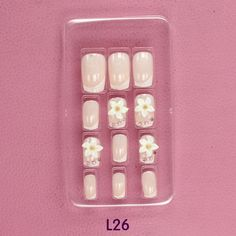 Nude color Flowers Colour painting False nail Bride Manicure tablets nail stickers bradawl nail painting