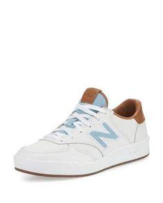 New Balance Leather Court Sneaker, White/Tan/Denim