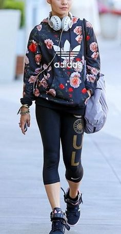 a2e3f08d53e6c I love those shoes and the sweatshirt! Vanessa Hudgens wearing Victoria s  Secret VSX Sport Hobo Gym bag adidas Originals Rose Print Hoodie adidas  Amberlight ...