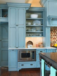 Beautiful Blues kitchen cabinet painting from Better Homes and Gardens