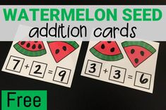Free printable watermelon seed addition cards