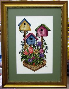 Birdhouse cross stitch.  Elegant and simple design.  Framed by Frameworks of Utah.